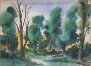 Dorothy Sklar California 1906-1996 Expressionist Watercolor Painting Landscape