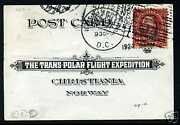 595 Used Stamp On 1925 Trans Polar Expo Card With Pf Cert Stock 595-pf1