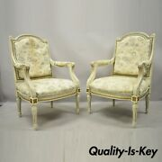 Vintage French Provincial Louis Xvi Cream Painted Fauteuil Arm Chairs - A Pair