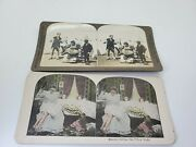 Two Stereograph Cards Showing Spanking Of Children