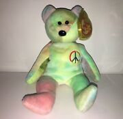 Rare Ty Beanie Baby Vintage 1996 Andldquopeaceandrdquo The Bear Collectible Tag Errors