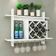 Wall Mount Wine Rack Organizer With Glass Holder