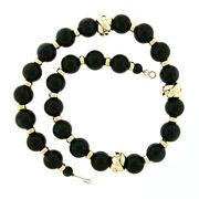 Vintage 24.5 Huge 18mm Round Black Onyx And 14k Yellow Gold Bead Strand Necklace
