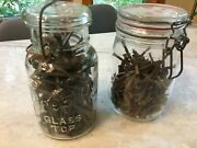 Two Jars Filled W/square Nails One Is Salvaged, Antique, Nails Other Is Modern