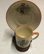 """Vintage Grays Pottery Made In Stoke-on Trent England """"sunbuff"""" Puss In Boots Set"""