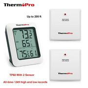 Thermopro Wireless Indoor Outdoor Hygrometer Digital Home Thermometer +2 Sensor