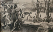 Everett Shinn American 1876-1953 Charcoal Ink Wash Painting Religious Liberty