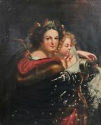 L. Popplein Continental Oil Painting On Canvas, Portait Of Two Women 19th C