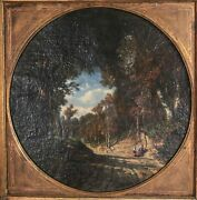 Continental Oil Painting On Canvas Landscape With Two Women 19th Century