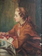 18th C Oil Painting On Canvas Delicate Portrait Of Young Man With Flowers