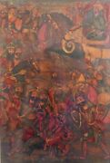 Middle Eastern Oil Painting Of Battle Scene With Horses / Elephant