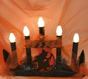 Five-light Halloween/fall Candolier W/vintage 1936 Witch Die Cut Garland Andhalos