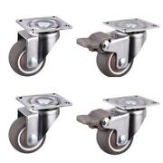 80kg 4pcs Furniture Casters Wheels Soft Rubber Swivel Caster Silver Roller Wheel