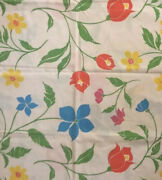 Vtg Royal Family Cannon No Iron Percale Sheet Set Full Sz Bed Bright Flowers Usa