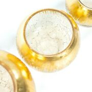 4 Pcs Gold 6 Tall Round Candle Holder Vases Crackle Glass Wedding Centerpieces