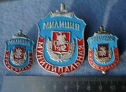 3 Badges Russia Municipal Police Moscow 1992 - 2001 Ministry Of Internal Affairs