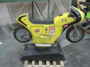 Vintage Amusement Kiddie Ride Yellow Motorcycle Coin Operated Antique Ride