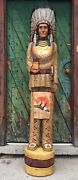 John Gallagher Carved Wooden Cigar Store Indian 6 Ft. Statue Fox Knife