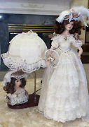 """Show Stoppers Victorian 1998 Porcelain 24"""" Doll 277/2500 And Lamp 19x14"""" Lace"""