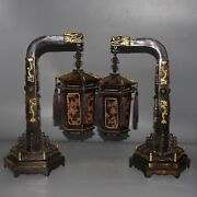 20.8 Pair Exquisite Chinese Old Antique Ox Horn Gilt Dragon Head Lantern Statue