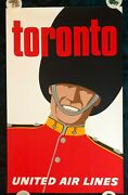 Original Travel Poster United Airlines Toronto Canada Royal Army Guard Soldier