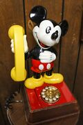 1976 Mickey Mouse Rotary Phone With Working Original Pieces