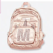 """Nwt Justice 4 Pc Rose Gold Unicorn """"m"""" Backpack Lunch Tote Pencil Case, Keychain"""