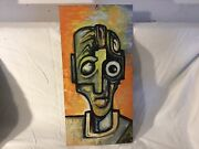 Isaac A. Wright Belfast, Maine Artist Hand Painted Found Object Metal Panel 1999