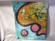 Isaac A. Wright Belfast, Maine Artist Hand Painted Found Object 2 Wooden Panels