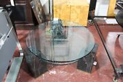 Maitland Smith Tessellated Marble Glass Table With Brass Inlay