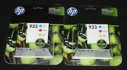 Lot Of 2x New Sealed, Genuine Hp 933 Cyan/magenta/yellow Color Ink Cartridges