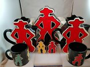 Cowboy Dept 56 Rodeo Yellow And Red Set Cookie Jar Pitchers Salt And Pepper Cups