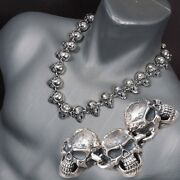 28 315g Skull Skeleton Tribal 925 Sterling Solid Silver Mens Necklace Chain Pre