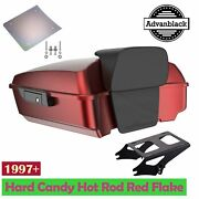 Hard Candy Hot Rod Red Flake Chopped Tour Pack Trunk Luggage For 97+ Harley