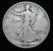 1917-s Walking Liberty Half Dollar Clear Date Great For A Book 977