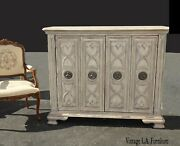 Tall French Country Hooker Furniture White Sideboard Console Storage Cabinet