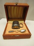 Antique Sterling Silver Baby Cup And Spoon With Original Case Gift Box Collecti