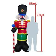 Aleko Christmas Outdoor Decor Inflatable 8 Ft Led Nutcracker With Blower