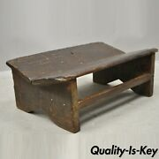 Antique Primitive Rustic French Country Solid Plank Wood Footstool Stool Ottoman