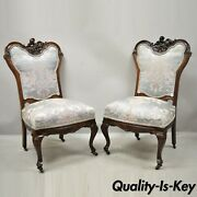 Antique Victorian Floral Scrollwork Carved Mahogany Parlor Side Chairs - A Pair