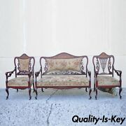 Antique Victorian Mother Of Pearl Satinwood Inlay Mahogany Parlor Set - 3pc Set