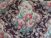 1940's Barkcloth Fall Chocolate Brown W/scrolls And Roses Cotton Drapes Curtains