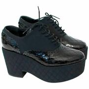 Iconic Quilted Fabric Patent Lace Up Platform Oxfords Eu 40 I Love Shoes