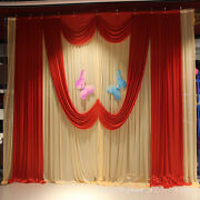 Wedding Stage Props Backdrop Curtains With Heart Style Swag And Ice Silk Drapes