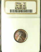 1910 1c Pr64rb Ngc-great Color And Strike Lincoln Wheat Cent