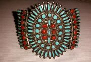 Victor M Begay Signed Navajo Silver Sleeping Beauty Turquoise And Coral Bracelet