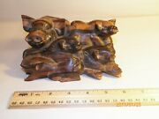 Mother Pig Sow And Four Piglets Hand Carved Out Of Coromandel Wood Indonesia