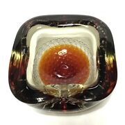 Vintage Mid Century Modern Murano 3d Controlled Bubble Art Glass Cigar Ashtray