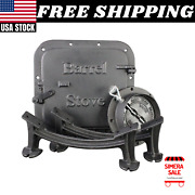 Barrel Camp Stove Kit For Steel Drum Cast Iron Fireplace Accessories Us Camping
