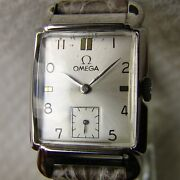 Menand039s Good Condition Rectangular Omega Steel Vintage Wristwatch Wwii Period